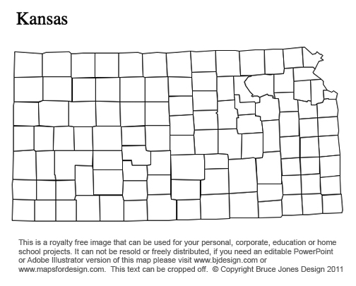 Kansas US State County map, printable, blank, royalty free for presentations
