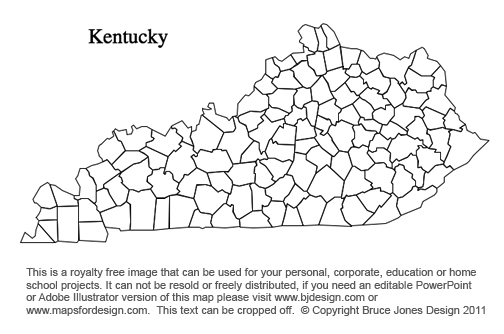 Kentucky US State County Map, printable, blank, royalty free for presentations