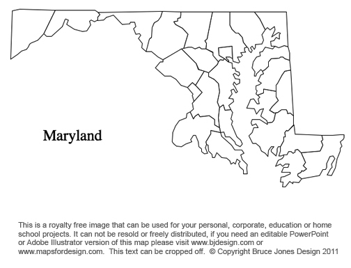 Maryland US State County map, printable, blank, royalty free for presentations