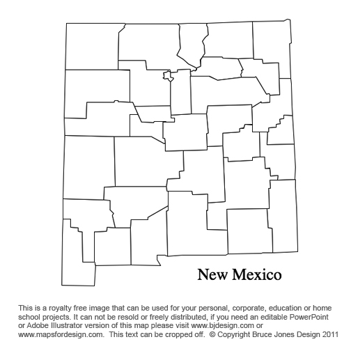 New Mexico US State County Map, printable, blank, royalty free for presentations