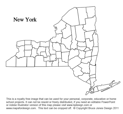 New York US State County Map, printable, blank, royalty free for presentations