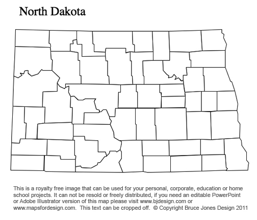 North Dakota US State County map, blank, printable, royalty free for presentations