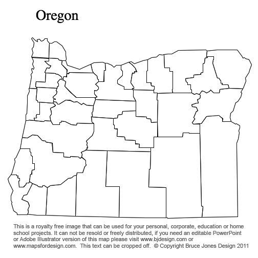 Oregon US state county map, printable, blank, royalty free for presentations