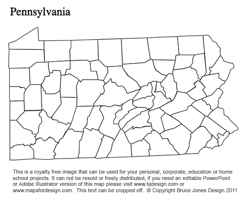 Pennsylvania US State County map, blank, printable, royalty free for presentations