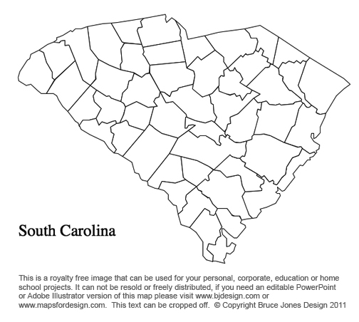 South Carolina US State County map, printable, blank, royalty free for presentations