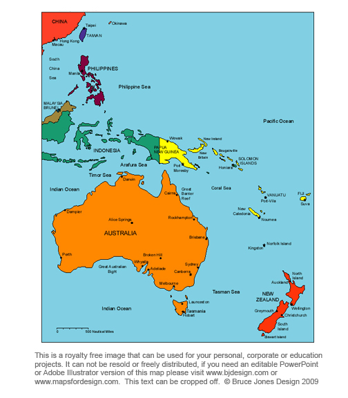 Australia Oceania map, royalty free, printable, blank, jpg