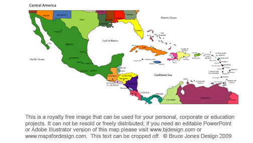 Central America Royalty Free Printable, Blank, jpg map