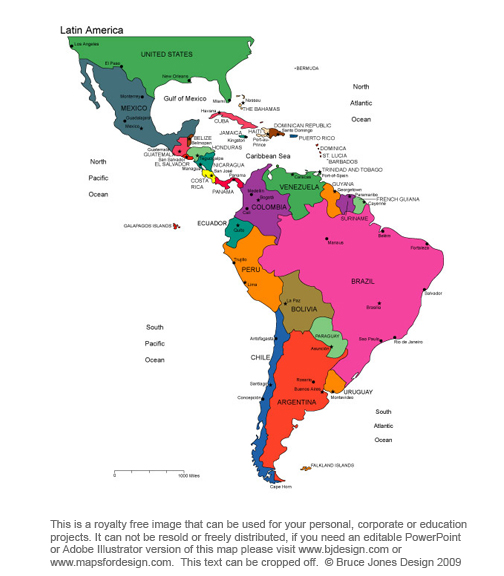 Latin America continent, printable, blank, royalty free jpg map