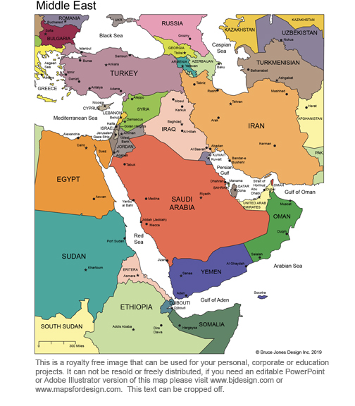Middle East, color map, with text, printable, blank, royalty free, jpg format