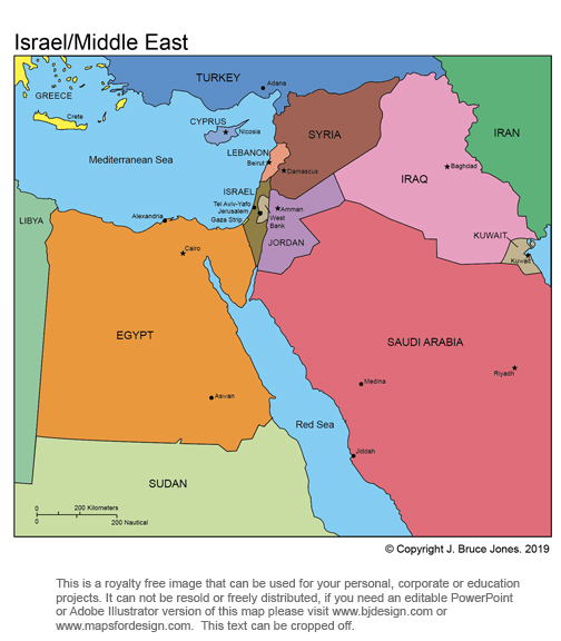 Middle East, Israel Royalty Free, printable, blank, jpg map