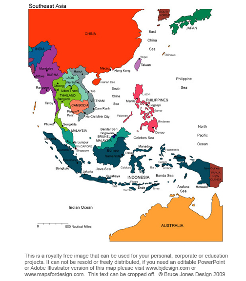 South East Asia Royalty Free, printable, blank, jpg map