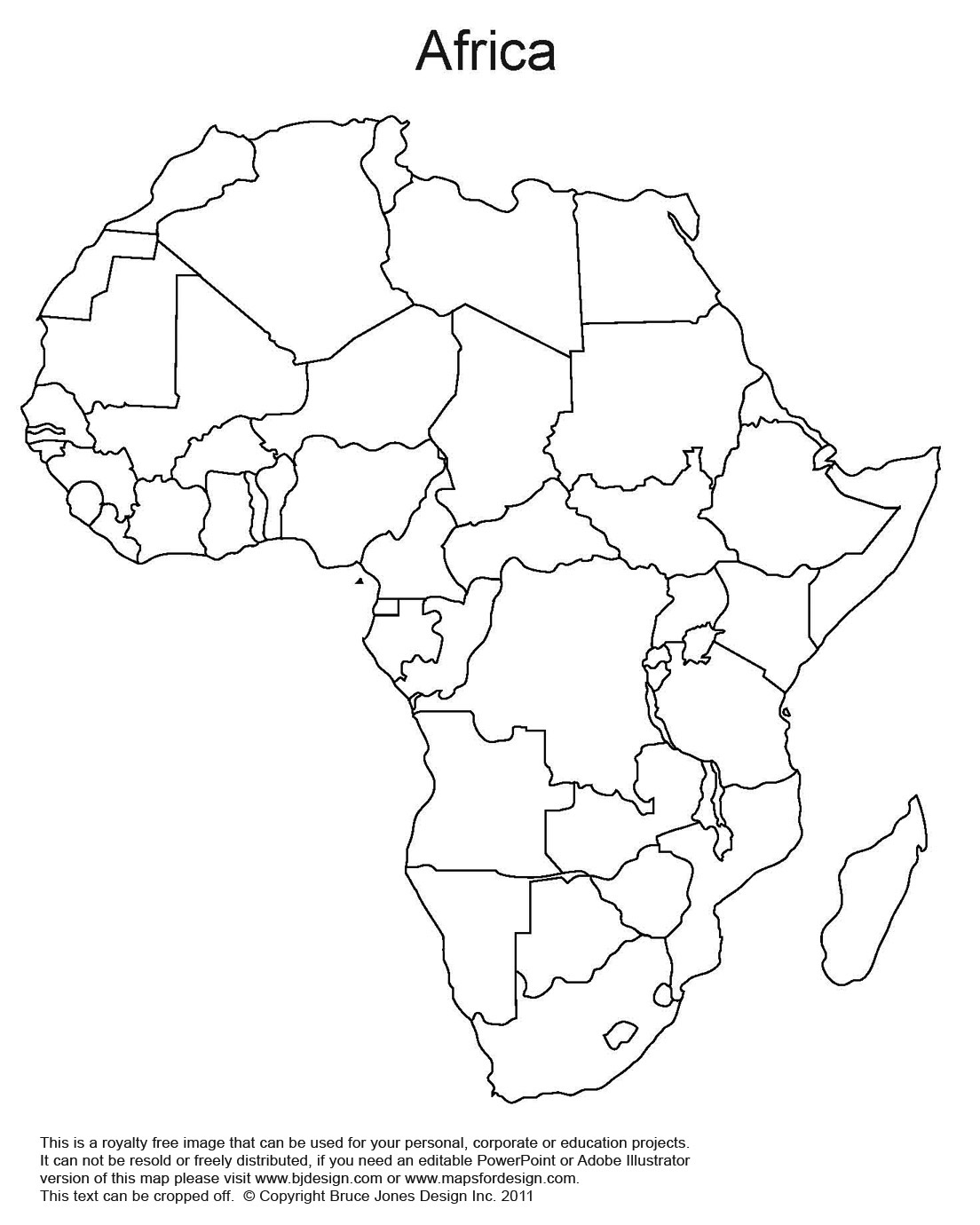 Africa World Regional Blank Printable map, outline map, royalty free
