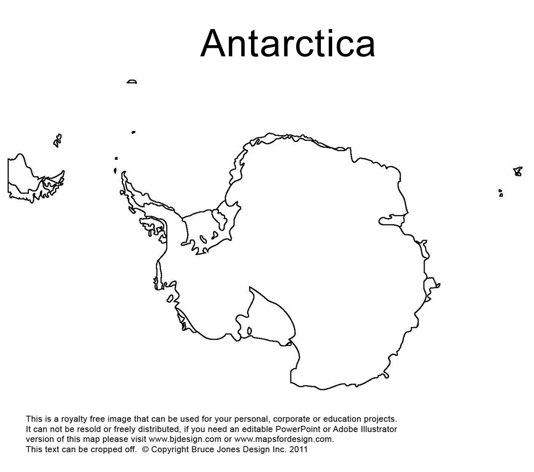 Antarctica, south pole outline printable map, royalty free, world regional
