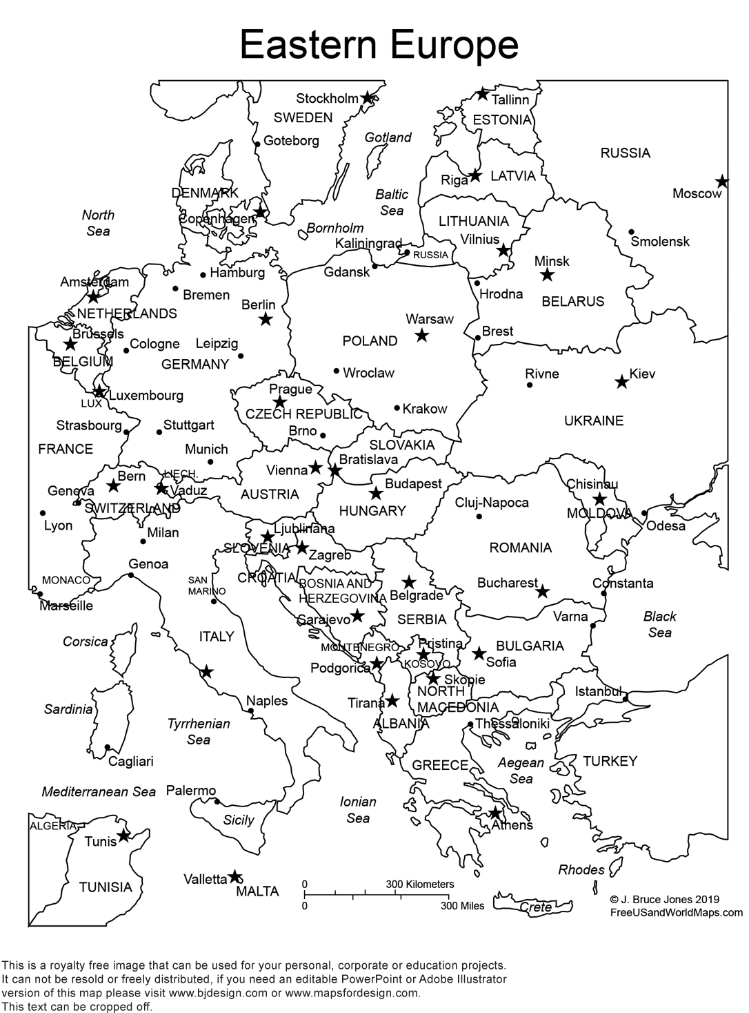 Eastern Europe Printable Outline maps, royalty free