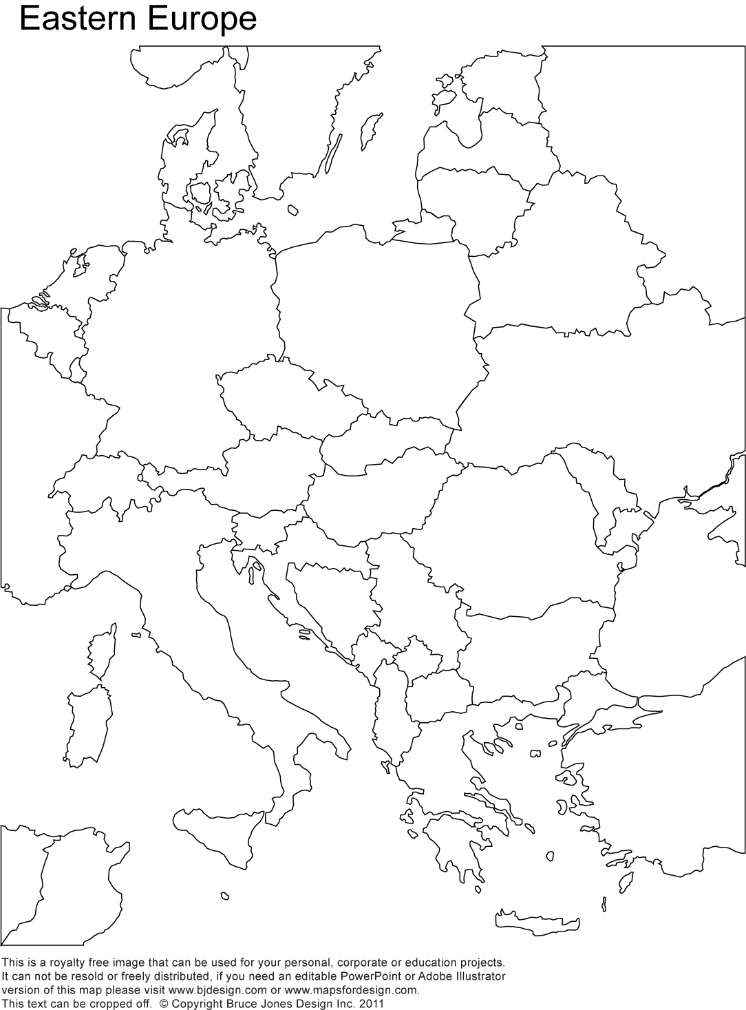 Eastern Europe Printable Blank map, royalty free, country borders