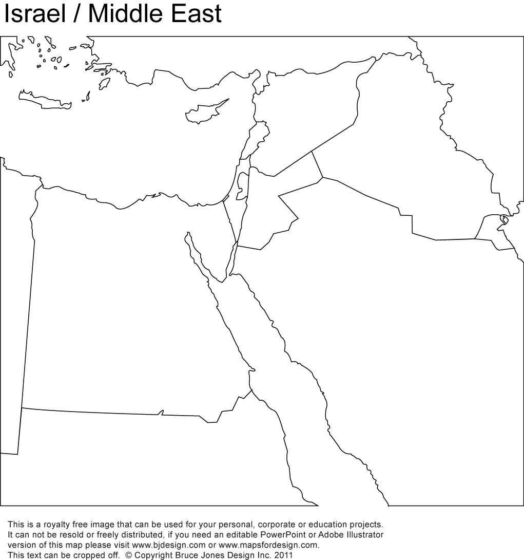 Middle East, israel printable maps no text